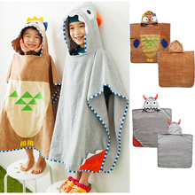 new design owl  thick grey monster  hooded quick dry children beach towel 70X140cm  kids gift free shipping