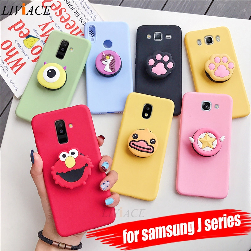 3D silicone cartoon phone holder case for samsung galaxy j8 j7 pro j6 j5 j4 a6 a8 plus 2018 2017 2016 2015 cute stand back cover image