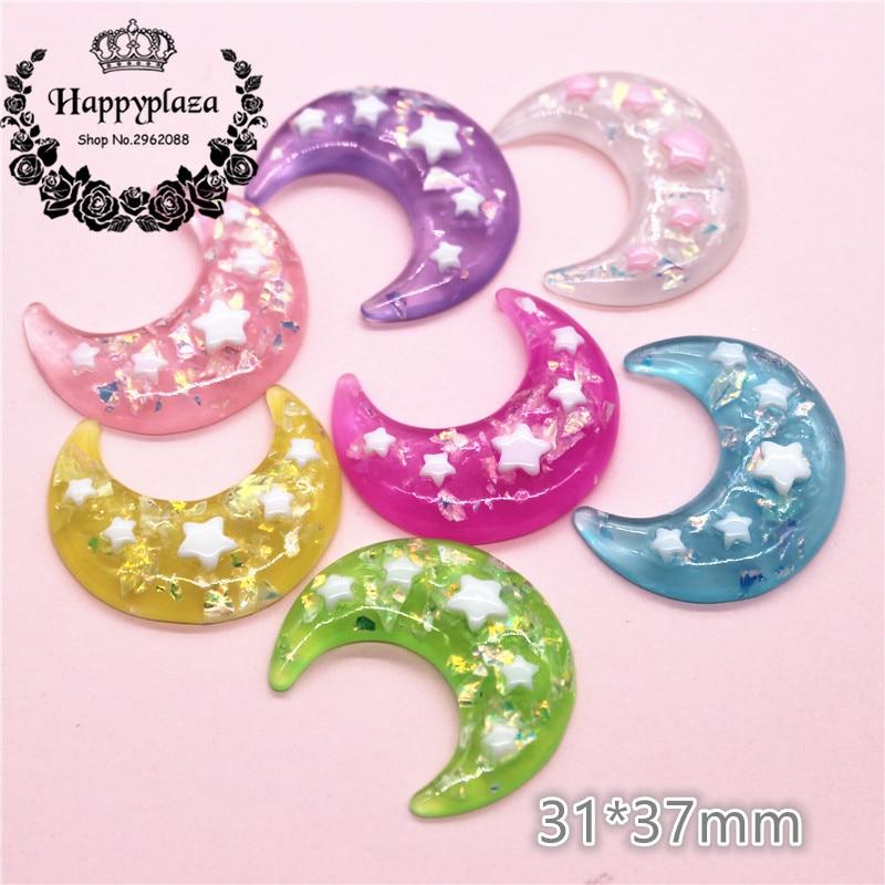 10pcs 31*37mm Mix Colors Cute Glitter Resin Star Moon Flat Back Art Decoration Charm Craft DIY Accessories