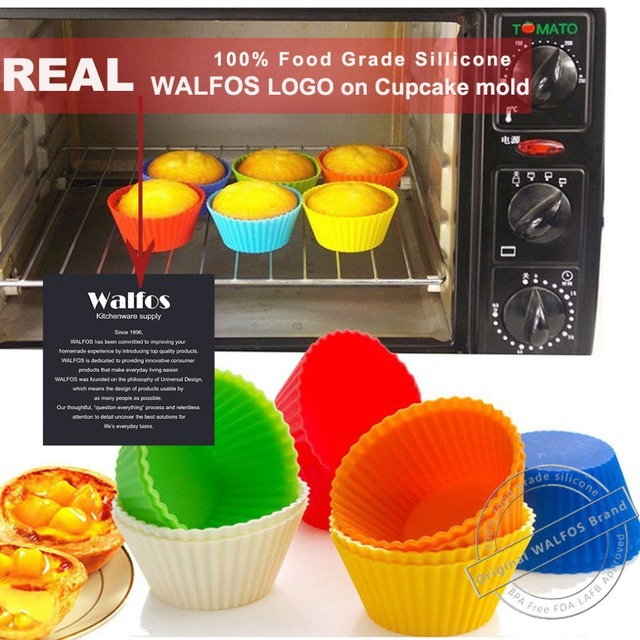 WALFOS Food Grade  Silicone Cupcake Mold Round Shape 6 pieces Cupcake Liner Muffin Cases Cake Baking Mold Baking Form