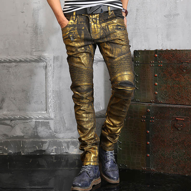 #1407 2016 Spring Fall Biker denim jeans Fashion Straight Gold distressed jeans Hip hop jeans Joggers Men printed jeans