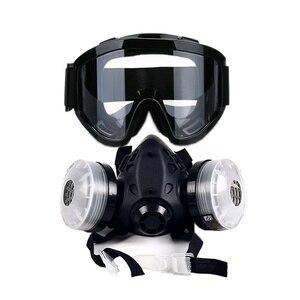 Image 2 - نصف وجه قناع واقي من الغاز مع مكافحة الضباب نظارات N95 الكيميائية الغبار قناع تصفية التنفس التنفس للرسم رذاذ لحام