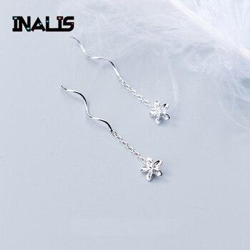 4d85ff350969 INALIS de moda Simple espiral de oído de la línea S925 de flor de plata  esterlina pendientes venta al por mayor de joyería fina para las niñas