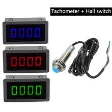 1 шт. измерительные приборы 4 Цифровой синий/зеленый/красный светодиодный Тахометр RPM измеритель скорости 10-9999 об/мин датчик приближения Холла NPN