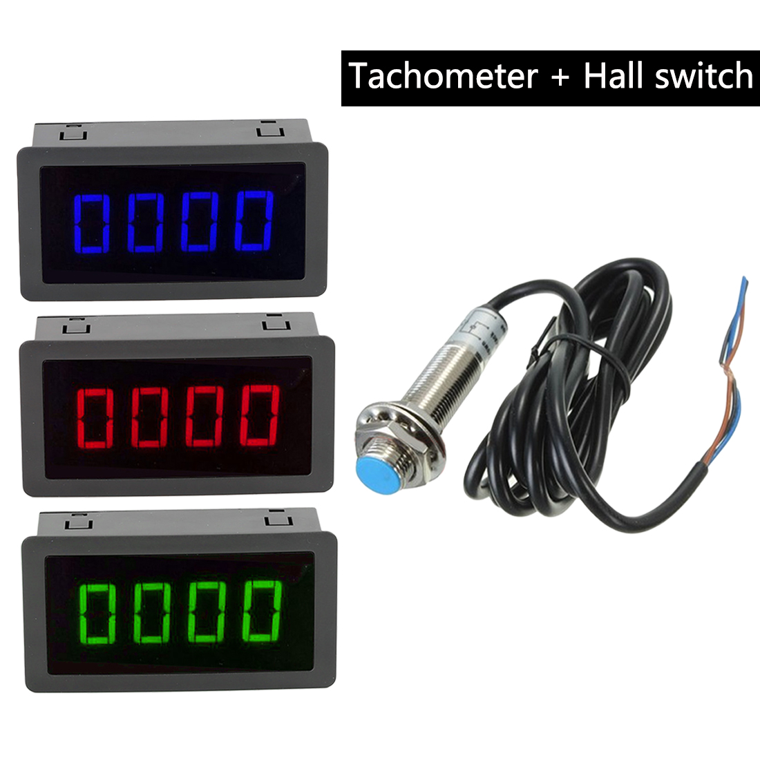 1Pc Measuring Gauges 4 Digital Blue/Green/Red LED Tachometer RPM Speed Meter 10-9999RPM Hall Proximity Switch Sensor NPN