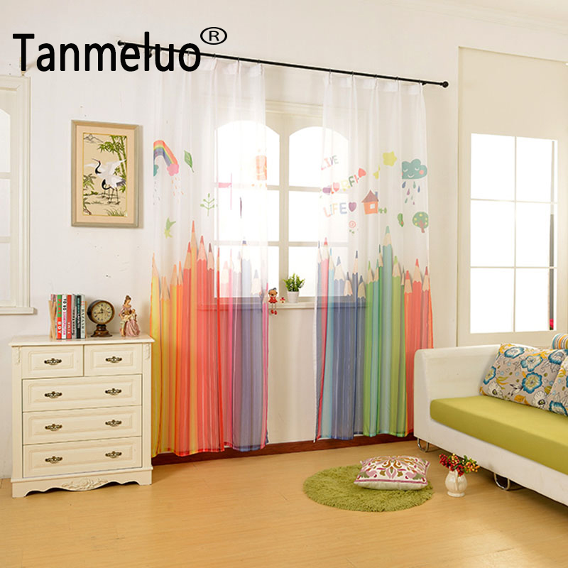 2017 다채로운 연필 준비 만든 된 아이 거실에 대 한 3d 얇은 명주 그물 침실 고급스러운 cortinas 어린이 창 커튼