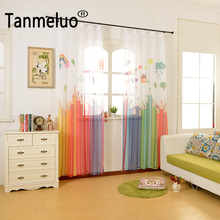 2017 Colorful pencil ready made kids 3d tulle curtains for living room children window curtains for