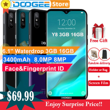 Doogee Y8 Android 9.0 cep telefonu 4G LTE 3 GB 16 GB 6.1