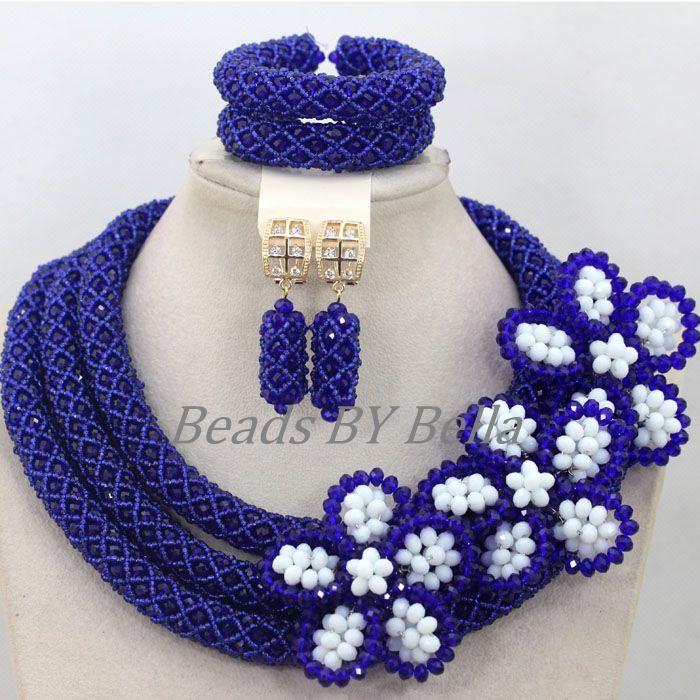 Großhandel Königsblau Kristall Handmade Nigerianische Mode Perlen Blumen Afrikanischen Schmuck Sets Halskette Kostenloser Versand ABK502