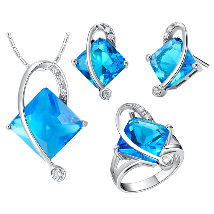 Nice Plating Finr Jewelry Sets For Women,mosaic Square Shaped Crystal,blue/red/purple,necklace/earring/rings,wedding Gift Vivid And Great In Style Wedding & Engagement Jewelry