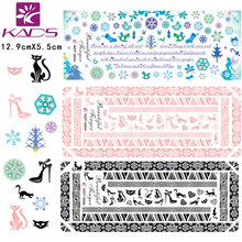 3 sheet/set HOT004-006 di Alta scarpe col tacco alto e cat sticker Unghie artistiche Decalcomanie di Trasferimento Dell'acqua Stickers Consigli Decalcomanie Wrap decorazione(China)