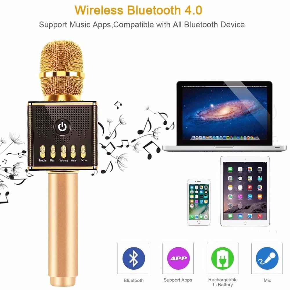 Wireless Karaoke Microphone H8 With Led Light Speaker