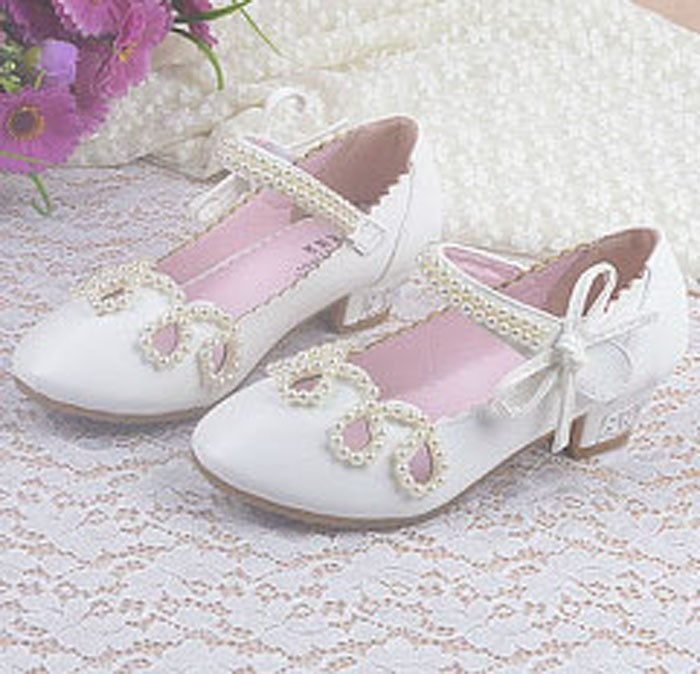 White Beading Wedding Shoes For Girls