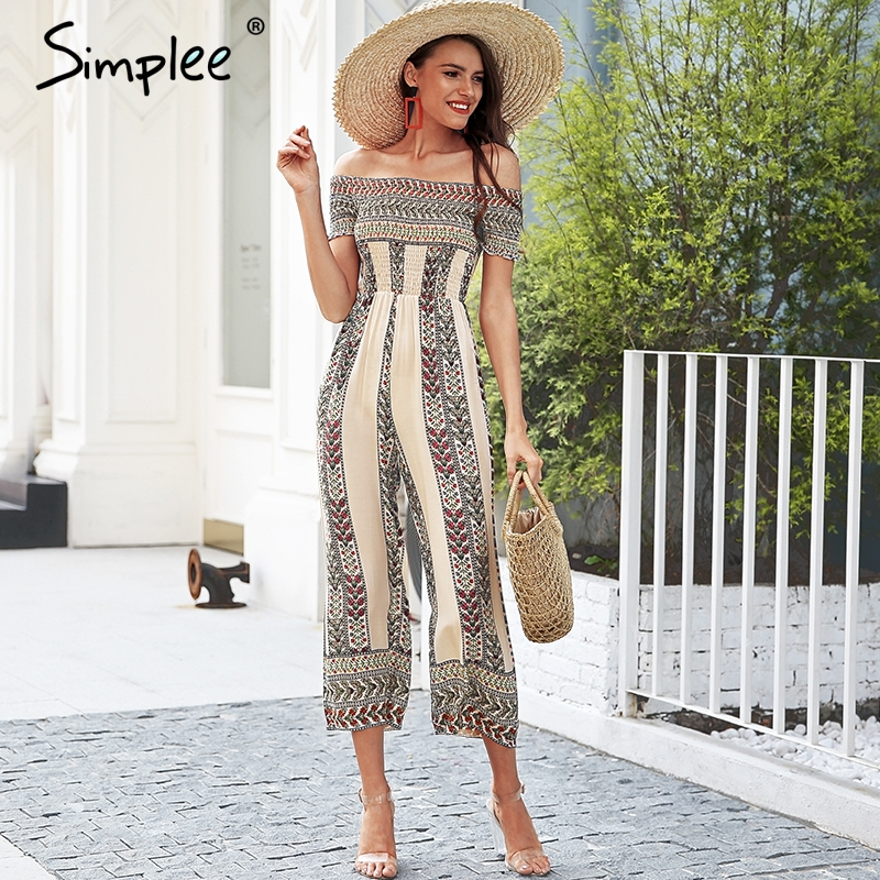 bbcd1311e399 Simplee Off shoulder ethnic print jumpsuit romper women Smocking wide leg  jumpsuit summer Streetwear casual jumpsuit macacao-in Jumpsuits from  Women s ...