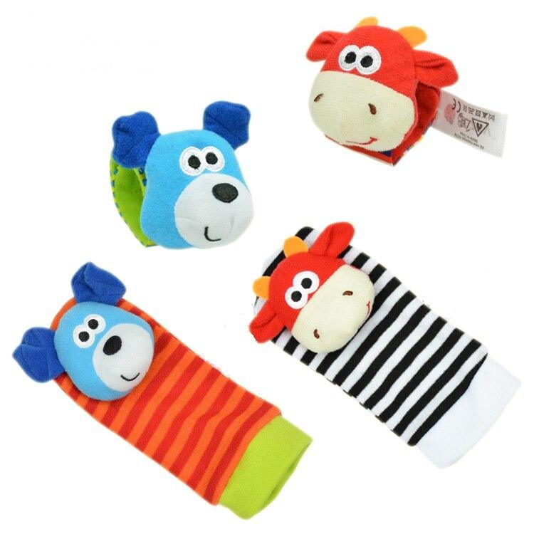 2PCS Monkey/&Elephant Cute Cartoon Animal Soft Baby Wrist Strap Socks w//Ring Bell