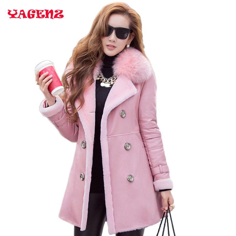 Leather suede fox 2019 winter women Fashion genuine leather sheepskin coat russian fur coats sheep shearing real fox fur jacket