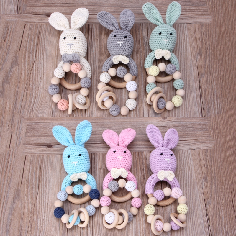 Natural Wooden Baby Toys Cotton Crochet Bunny Teething Ring Teether Rattle SET 2