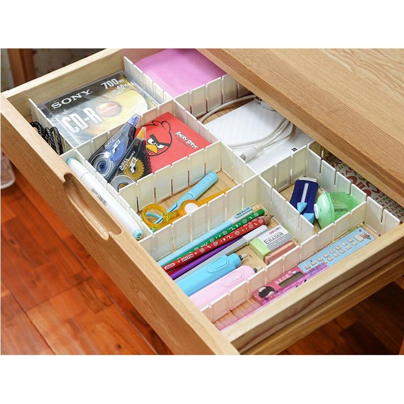 6x Adjustable Drawer Organiser Grid Clapboard Drawer Divider For Kitchen Bedroom