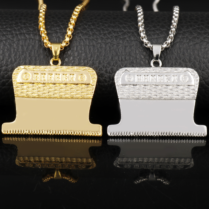 Wholesale Cosmetologist Jewelry Razor Blades Shaver Shape Pendant Necklaces Men Male Barber Shop Necklaces Gift For Hairdressr