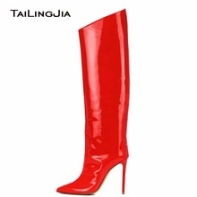 Women Fashion Knee High Boots Mirror Effect Zipper Red Patent Leather Heel Metallic Ladies Wholesale