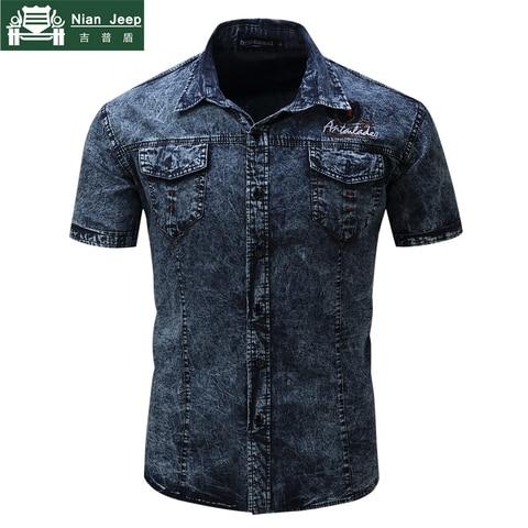 2018 Fashion Brand New Denim Shirt Men Short Sleeve Mens Shirts Military Style Male High Quality Streetwear Shirts Size S-2XL Islamabad