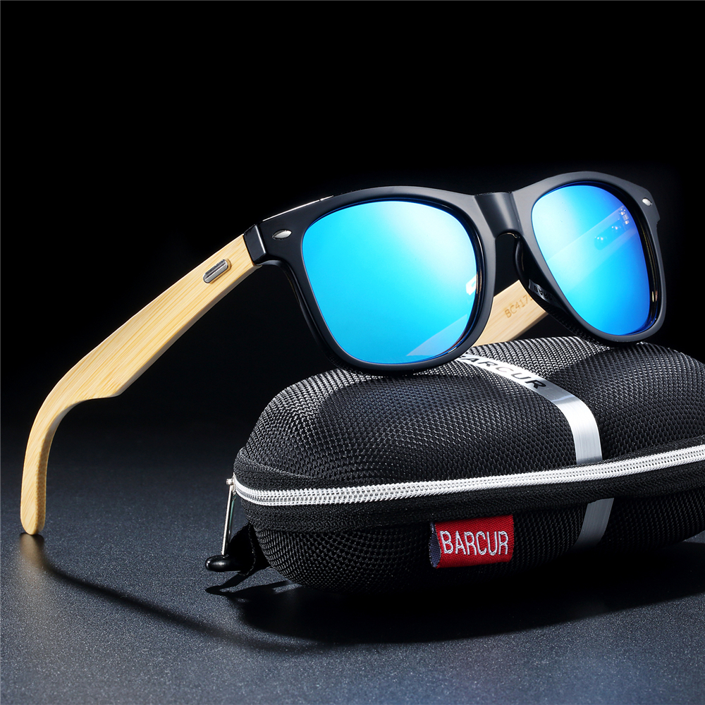 BARCUR Bamboo Polarized Sunglasses Men Polarized Wooden Sun glasses Women Brand
