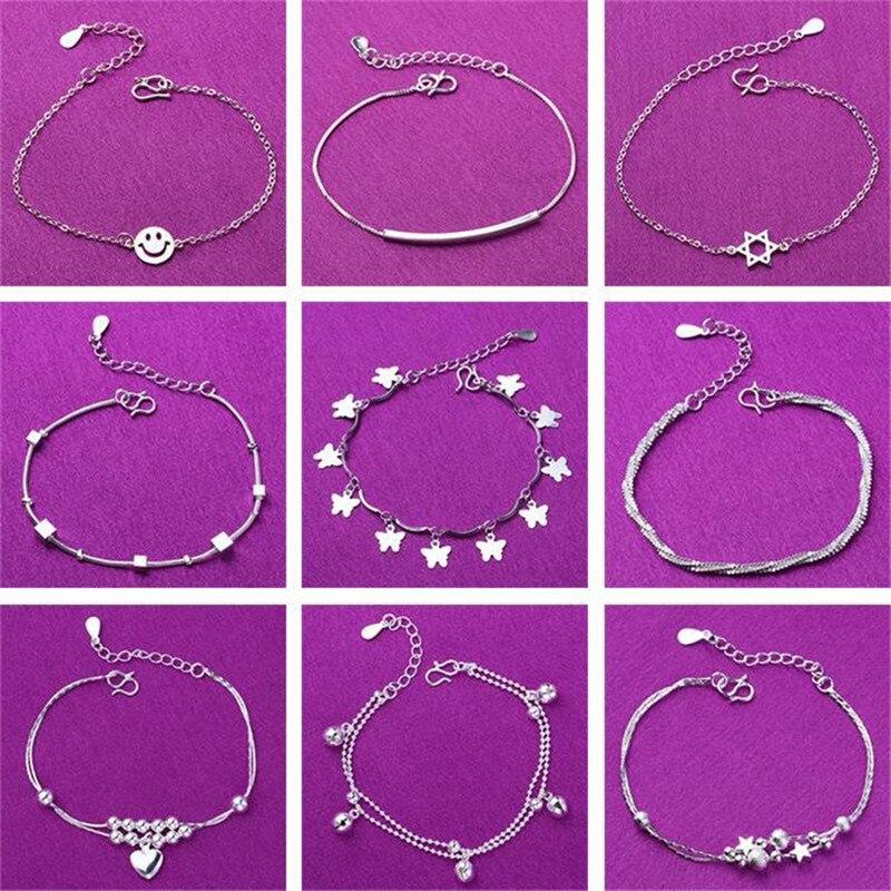 Réglable 925 Sterling Silver Star Coeur bracelets porte-bonheur & Bracelet Pour Les Femmes De Mariage Cadeau Femme Bijoux A185