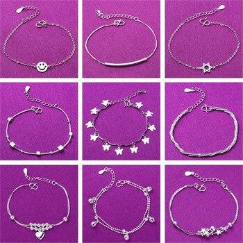Regulowany 925 Sterling Silver Star serce uroku bransoletki i Bangle dla kobiet prezent ślubny Femme biżuteria A185