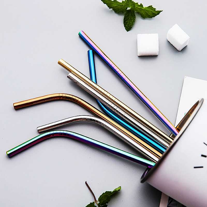 Nordic Colorful 304 Stainless Steel Drinking Straws Reusable Bent Metal Straw High Quality Tube Office Bar Drinkware Accessories