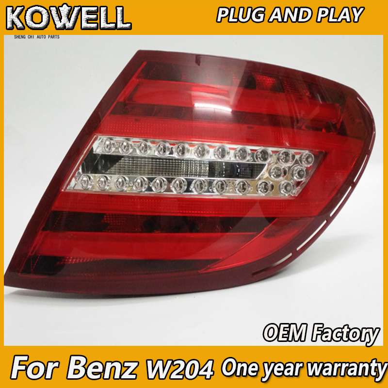 KOWELL Car Styling for Mercedes-Benz W204 C180 <font><b>C200</b></font> C260 C280 C300 LED Taillight Rear Lamp Parking Brake Turn Signal Lights image