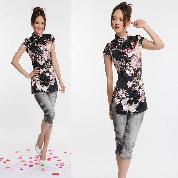 Nueva negro fashion clothing rayón de las mujeres chinas de satén blusas tapas d