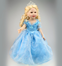 18 inch Full Vinyl American Girl Cinderella doll Blue Dress Crown Princess Doll Birthday Gift