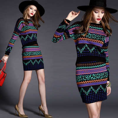 Geometric Prints Sweater Tops and Skirt Sets