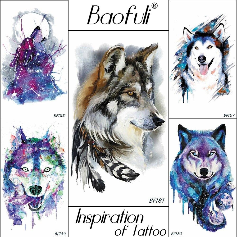 Baofuli Husky Galaxy Watercolor Tattoos Wolf Fake Tatoos Feather Triabl Moon Fox Temporary Totem Art Tattoo Stickers Women Men