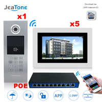 7'' Touch Screen WIFI IP Video Door Phone Intercom +POE Switch 5 Floors Building Access Control System Support Password/IC Card