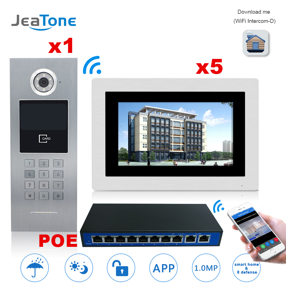 7'' Touch Screen WIFI IP Video Door Phone Intercom +POE Switch 5 Floors Building Access Control System Support Password/IC Card 7 inch password id card video door phone home access control system wired video intercome door bell