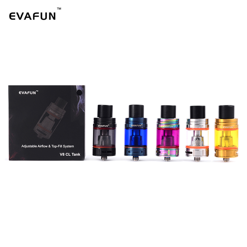 EvaFun V8 CL Tank Electronic Cigarette 5ml Top Fill Atomizer 24.5mm Diameter TFV8 Big Baby Coils for Stick V8 Vape Pen Kit eCig