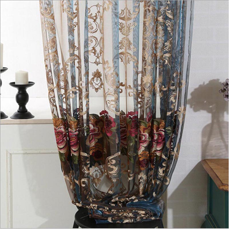 Aliexpress.com : Buy Luxury Fancy Modern Embroidered Curtains Voile Tulle Blue  Brown Sheer Art Floral Valance Drape For Living Room Bedroom WP006 *30 From  ...