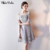 PotN Patio Elegant Ruffles Sleeves Lace Appliques Illusion Back Gray Short Bridesmaid Dresses 2017 Summar