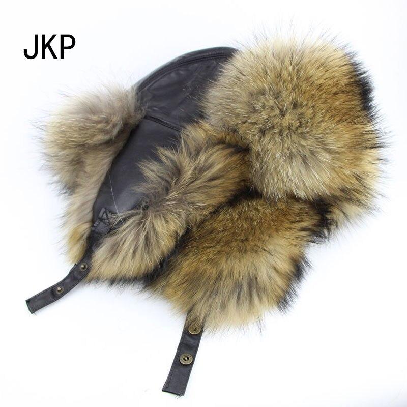 Winter neue echtsilberfuchs pelzmütze echtem leder natürliche fuchspelz hut für männer schützen-ohr-kappe