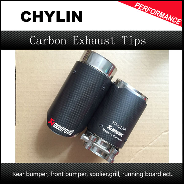 2PCS Carbon Fiber Coated Stainless Steel Universal Car Exhaust Pipe Tip Tailtip Inlet 66mm Outlet 76mm Akrapovic Auto Exhaust