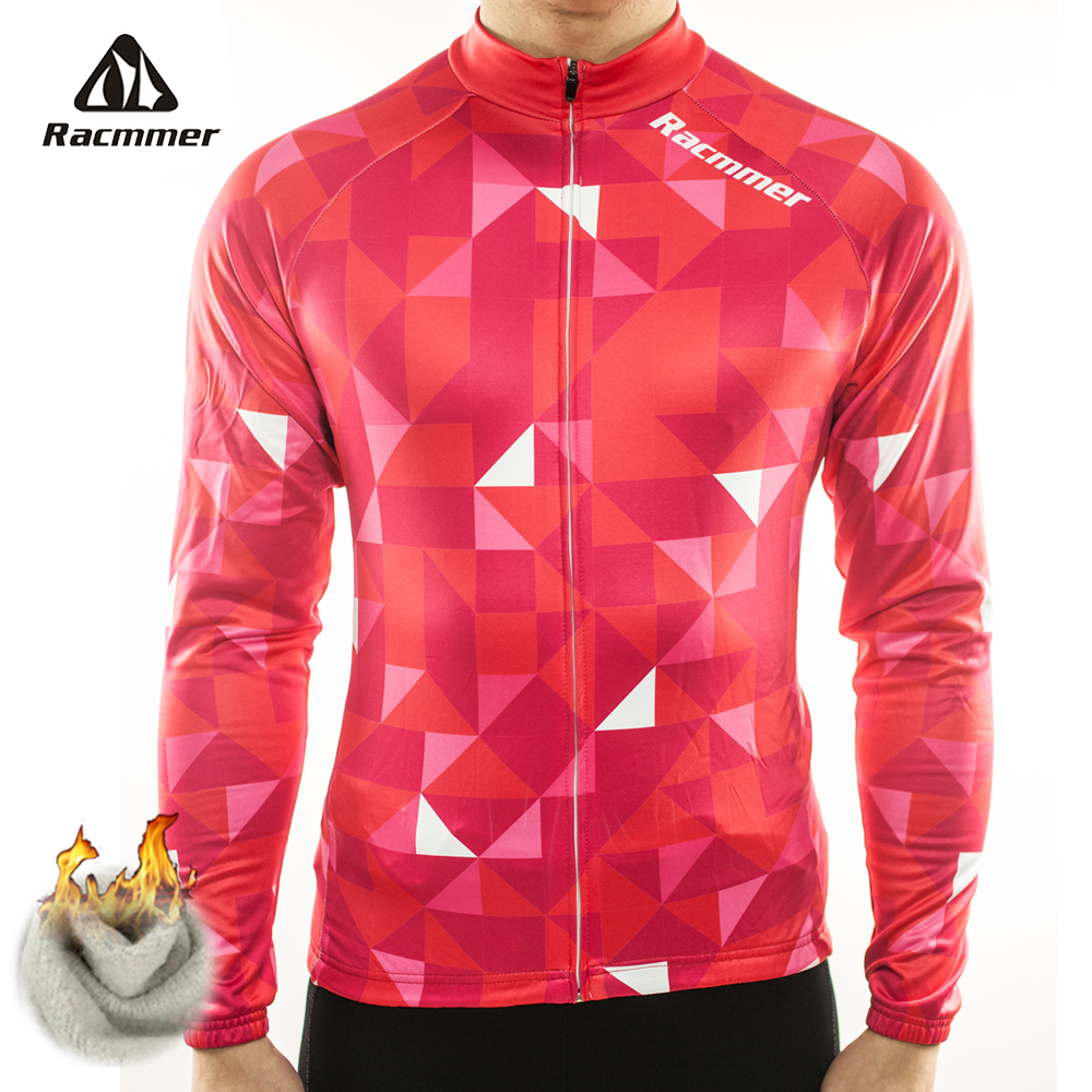 Racmmer Warm 2019 Pro Winter Thermal Fleece Cycling Jersey Ropa Ciclismo Mtb Long Sleeve Men Bike Wear Clothing Maillot #ZR-03