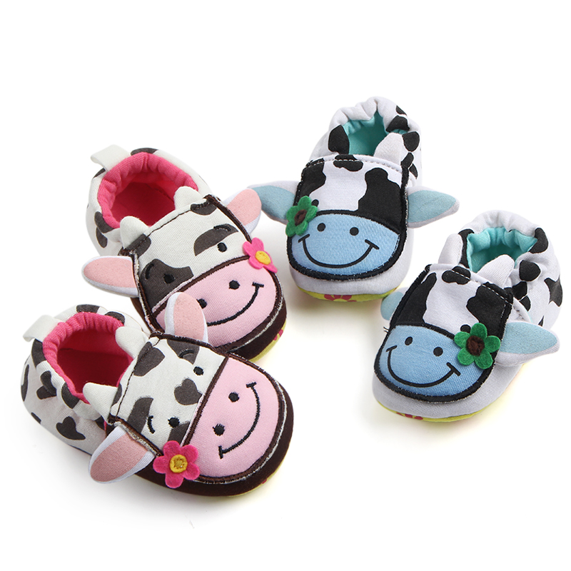New Arrival Spring/Autumn Cows Doll Shoes 2 Colors Cotton Prewalker Baby Girl Boy Shoes For 0-15 Months