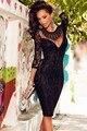 2017 Партия Черное Кружево Вышитые Ожерелье партия Dress LC60856 Выдалбливают новая мода стиль sexy Формальные осень зима dress