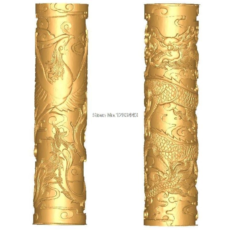 2 pçs baluster_pillars_dragon e phoenix 3d modelo stl alívio para cnc stl formato escada coluna modelo 3d para cnc stl alívio