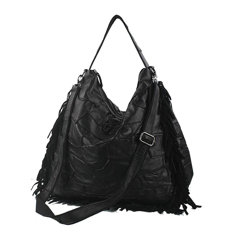 Lomantina Hot Fashion Women Patchwork Tassel Shoulder Bag Black Messenger Bags Fringe Handbags High Quality In From Luggage On