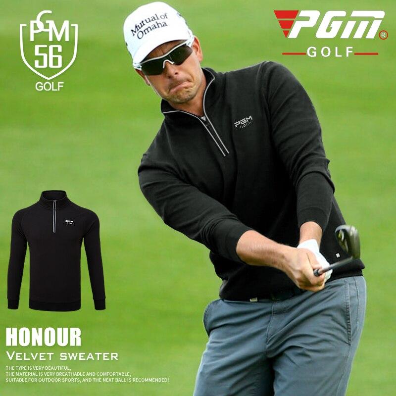 PGM 2018 new autumn winter golf apparel mens clothing long-sleeved T-shirt windproof fleece warm zip collar golf sportswear