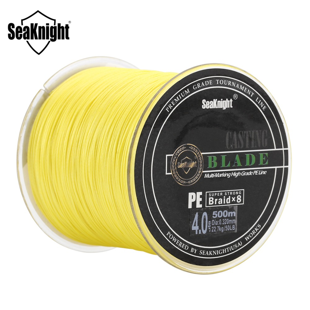 SeaKnight 8 Strands BLADE 500M PE Braided Fishing Line Japan Multifilament Strong PE Fishing Wire 20 30 40 50 80 100LB Saltwater