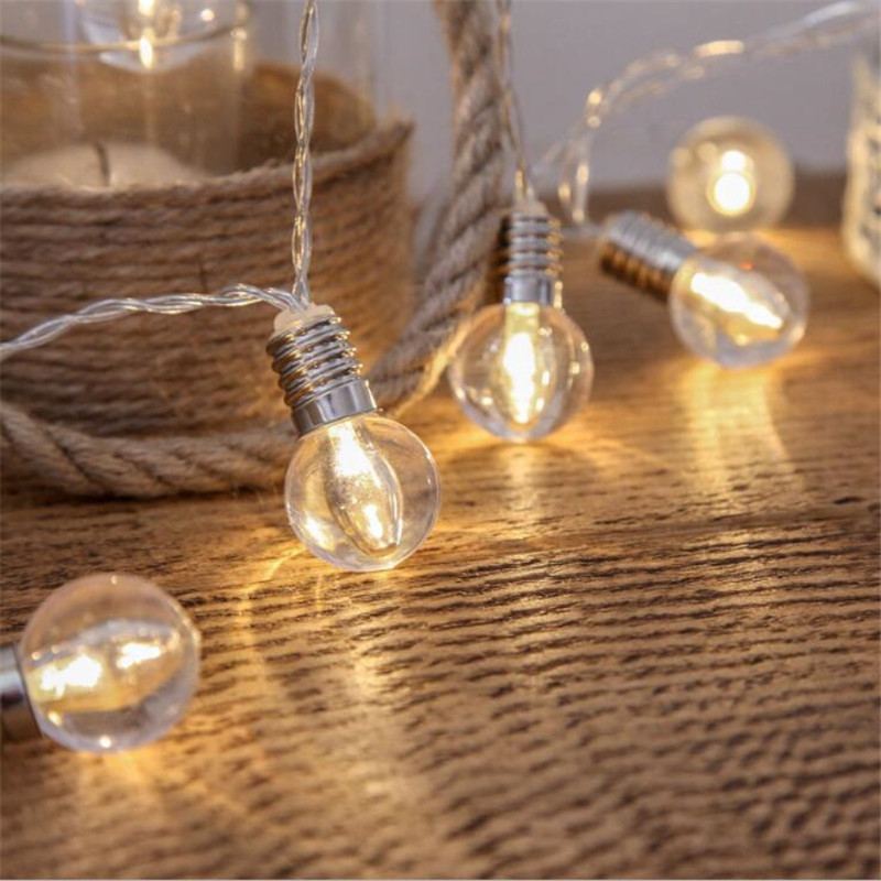 3.0M 20 Led Wedding String Fairy Light Christmas LED Globe Festoon Bulb Outdoor Party Garden Garland Lamp