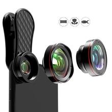 Tablet mobile phone camera lens 0.6X micro distortion wide angle 15X macro fisheye photographer kits 3 set 2 180 degree fish eye цена в Москве и Питере